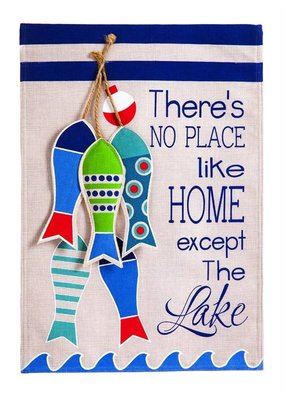 ***No Place Like The Lake Garden Burlap Flag