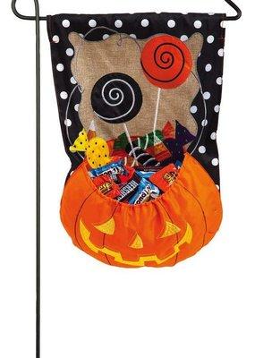 ***Candy Pumpkin Garden Burlap Flag
