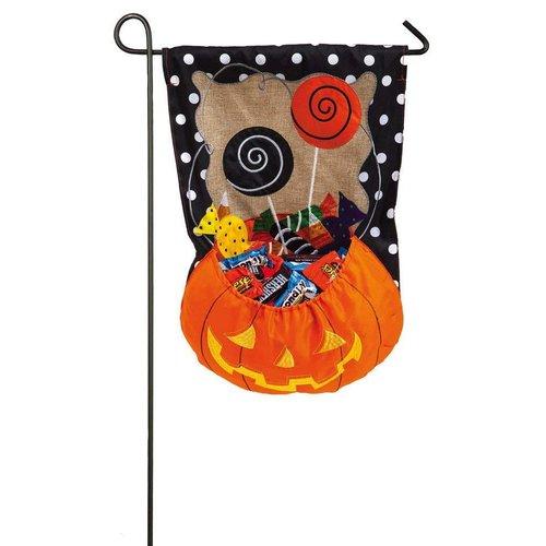 Candy Pumpkin Garden Burlap Flag