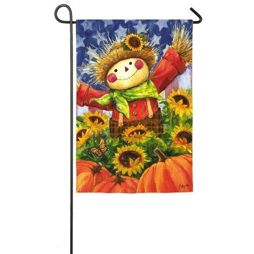 Joyful Scarecrow Garden Satin Flag