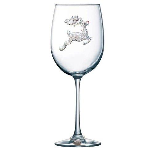 Queen's Jewels Reindeer Stemmed Wine Glass