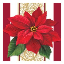 *Poinsetta Lace Beverage Napkin 16ct