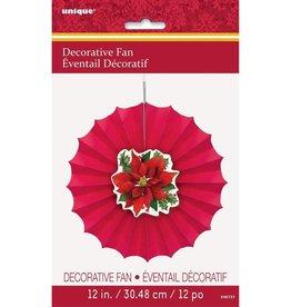 "***Poinsettia Decorative 12"" Fan"