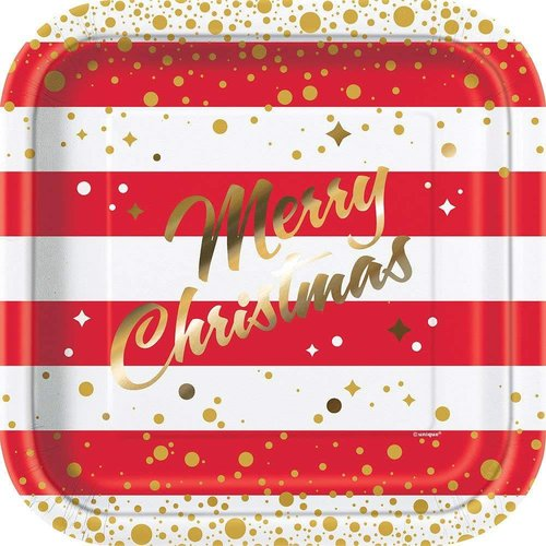 """*Gold Sparkle Christmas 9"""" Square Plate 8ct"""
