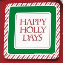 "Happy Holly Days 7"" Square Dessert Plates 8ct"