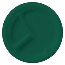 "*Hunter Green Divided 10"" Plastic Plates 20ct"