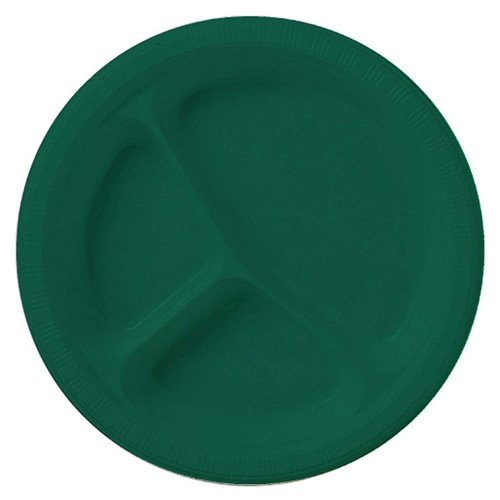 "*Hunter Green Divided 10"" Plastic Plates 20ct"
