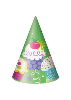***Cupcake Party Hats 8ct