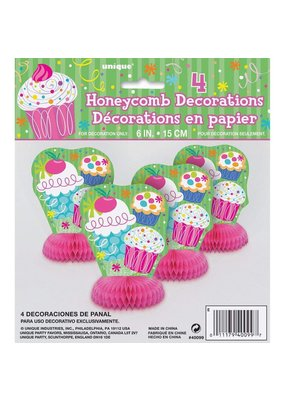 ***Cupcake Party Honeycomb Centerpieces 4ct