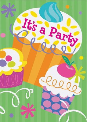 ***Cupcake Party Invitations 8ct