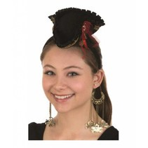 Mini Pirate Hat Headband w/Dangling Skull & Crossbones