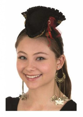 Jacobson Hat Company ***Mini Pirate Hat Headband w/Dangling Skull & Crossbones