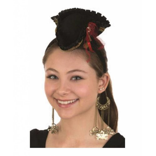 Jacobson Hat Company Mini Pirate Hat Headband w/Dangling Skull & Crossbones