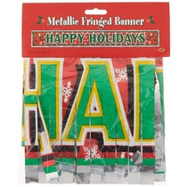 Metallic Happy Holidays Fringe Banner