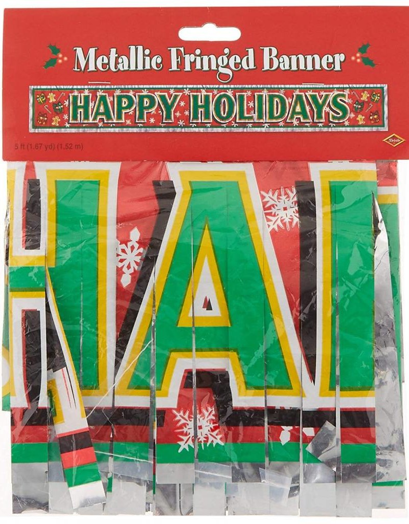 ***Metallic Happy Holidays Fringe Banner