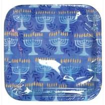 "***Hanukkah Menorah 7"" Square Dessert Plates 8ct"