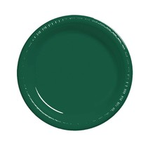 "***Hunter Green 7"" Plastic Dessert Plates 20ct"