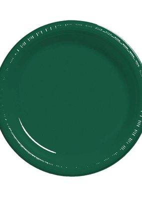 "***Hunter Green 7"" Plastic Dessert Plates 20ct"