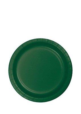 "***Hunter Green 7"" Paper Dessert Plates 24ct"