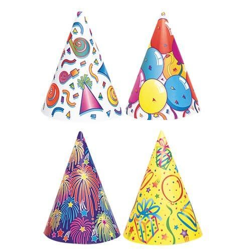 Party Cone Hats 4 designs 8ct
