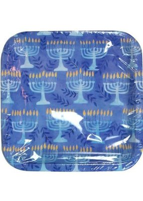 "***Hanukkah Menorah 9"" Square Plates 8ct"