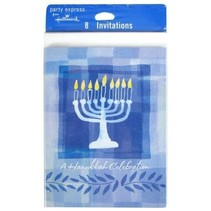 *Hanukkah Menorah Invitations 8ct