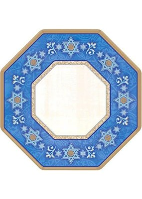 """*Judaic Traditions 7"""" Octagon Paper Plates 8ct"""