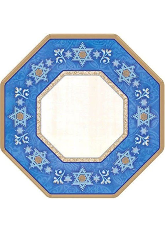 "*Judaic Traditions 7"" Octagon Paper Plates 8ct"