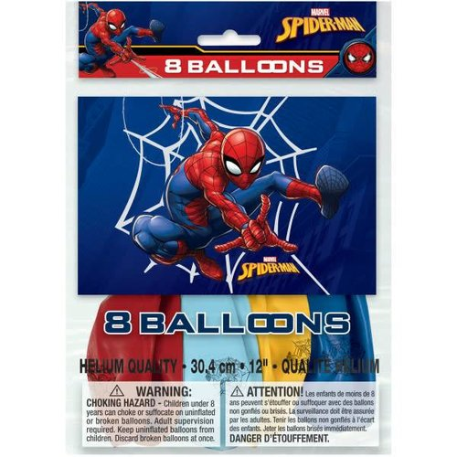 Spiderman 8ct Latex Balloons