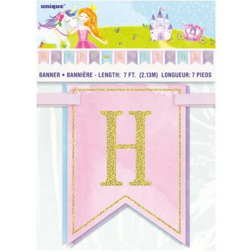 Glitter Princess Happy Birthday Banner