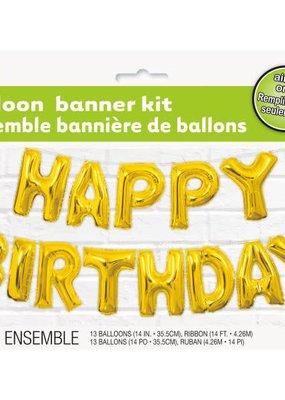 ***Gold Happy Birthday Air Filled Balloon Banner