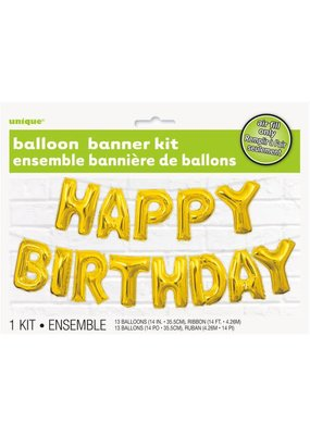***Gold Happy Birthday Air Filled Balloon Banner