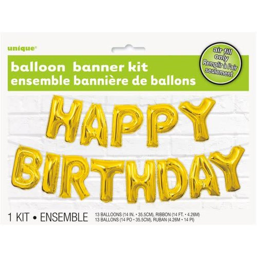 Gold Happy Birthday Air Filled Balloon Banner