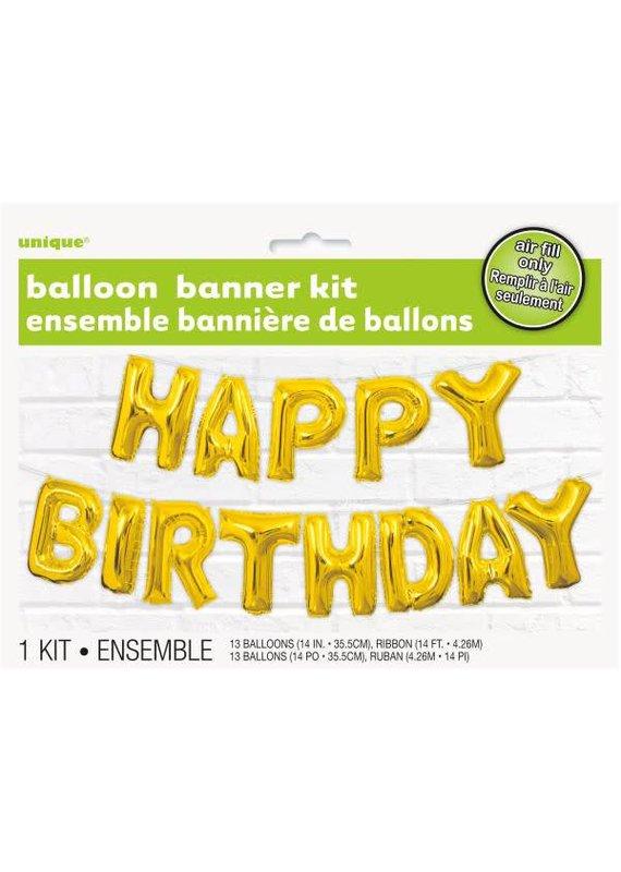 ****Gold Happy Birthday Air Filled Balloon Banner