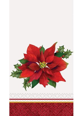 ***Holly Poinsettia Guest Towel 16ct