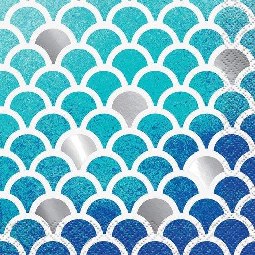 Ocean Blue Scallop Beverage Napkins