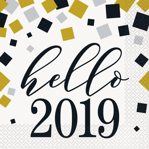 Hello 2019 Black Gold Silver Lunch Napkins 16ct