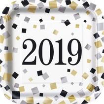 """2019 Black Gold Silver 7"""" Square Plates 8ct"""