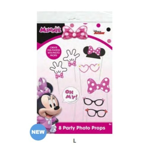 ***Minnie Mouse Pink Polka Dot Photo Props 8ct