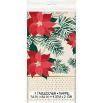 Red & Gold Poinsettia Polastic Tablecover