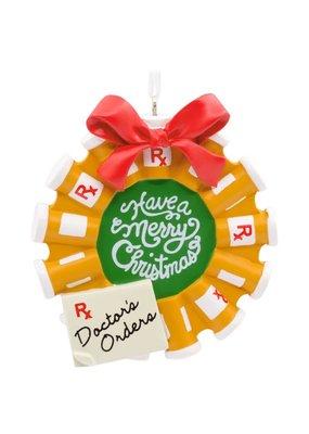 ***Pill Bottle Wreath Doctor Christmas Tree Ornament