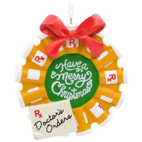 Pill Bottle Wreath Doctor Christmas Tree Ornament