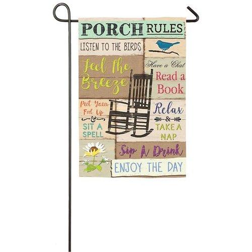 Porch Rules Garden Suede Flag