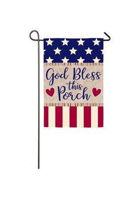 ***God Bless this Porch Garden Burlap Flag