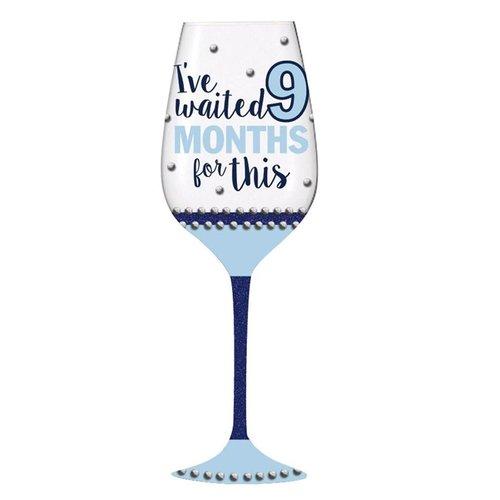 I've Waited 9 Months for This Blue Stemmed Wine Glass