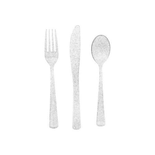 Silver Glitter Plastic Cutlery