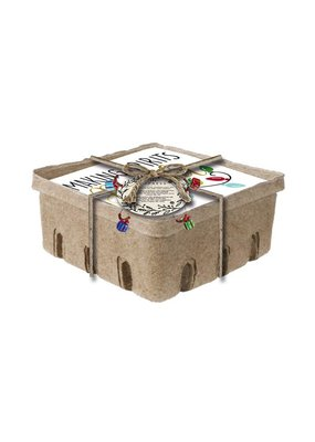 ***Foil Paper Cocktail Napkin, 60 count w/crate box and Wine Stem Charm, Making Spirit Bright