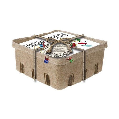 Foil Paper Cocktail Napkin, 60 count w/crate box and Wine Stem Charm, Making Spirit Bright