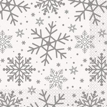 ***Silver & Gold Holiday Snowflakes Lunch Napkin
