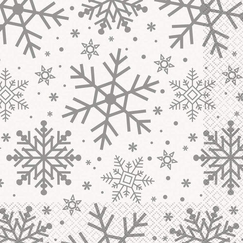 Silver & Gold Holiday Snowflakes Lunch Napkin
